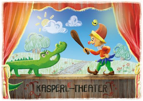 Stuhlkreis-Schatz Spielkarte Der Vorhang geht auf - Kasperltheater